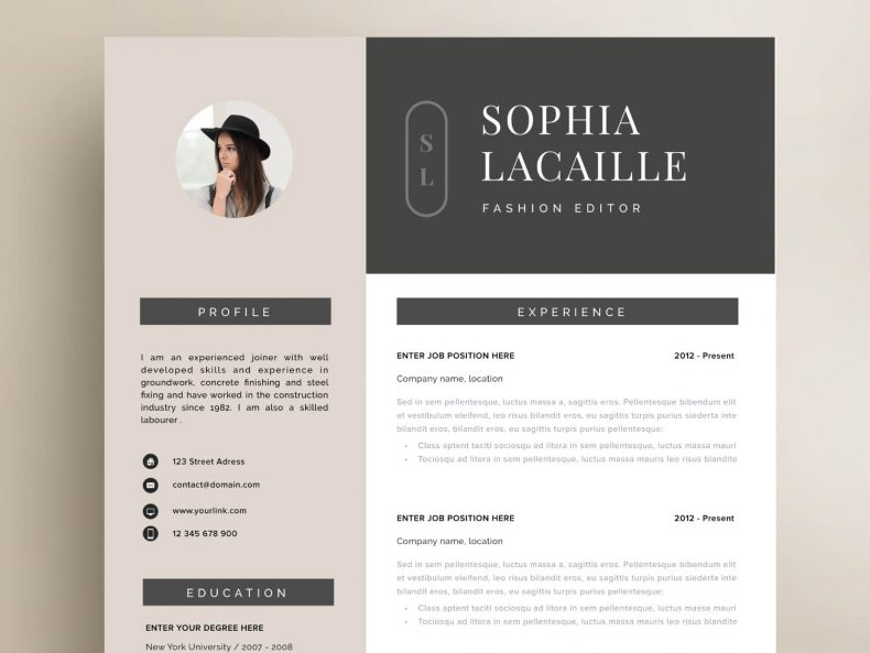 Elegant CV template Abbey Road ready for download in MS Word