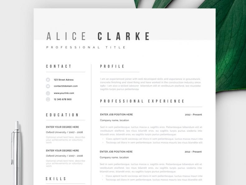 Minimalist CV template ready to download in MS Word