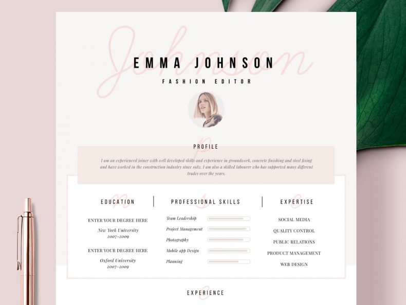 Creative CV Template Champs-Elysees ready for download in Word