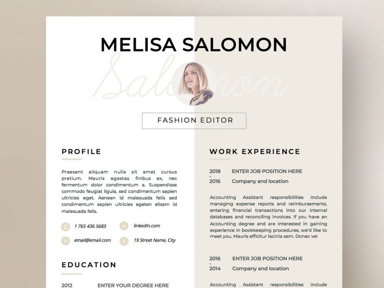 Creative Florence CV template, ready to download in MS Word and Pages