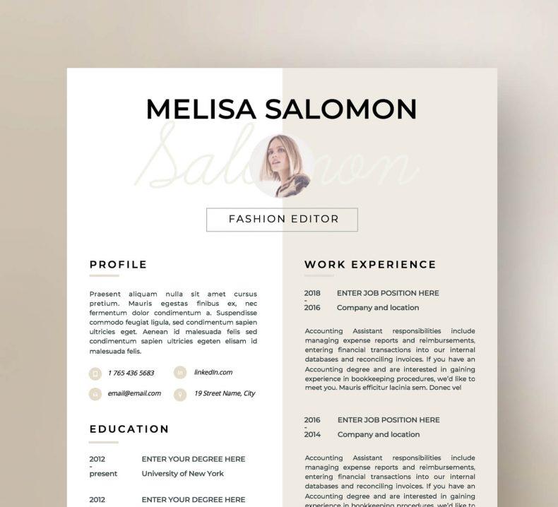 Kreatywny szablon CV Florence, gotowy do pobrania w MS Word i Pages