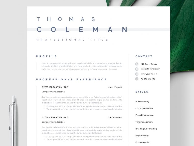 CV template without a photo Helsinki ready to download in MS Word