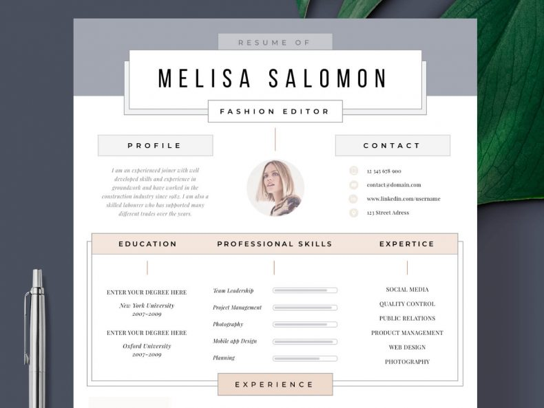 Creative CV Template Madrid ready for download Word