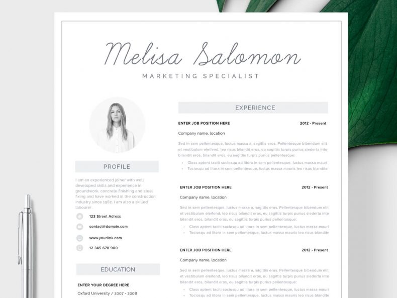 Minimalist CV template Melbourne ready for download Word