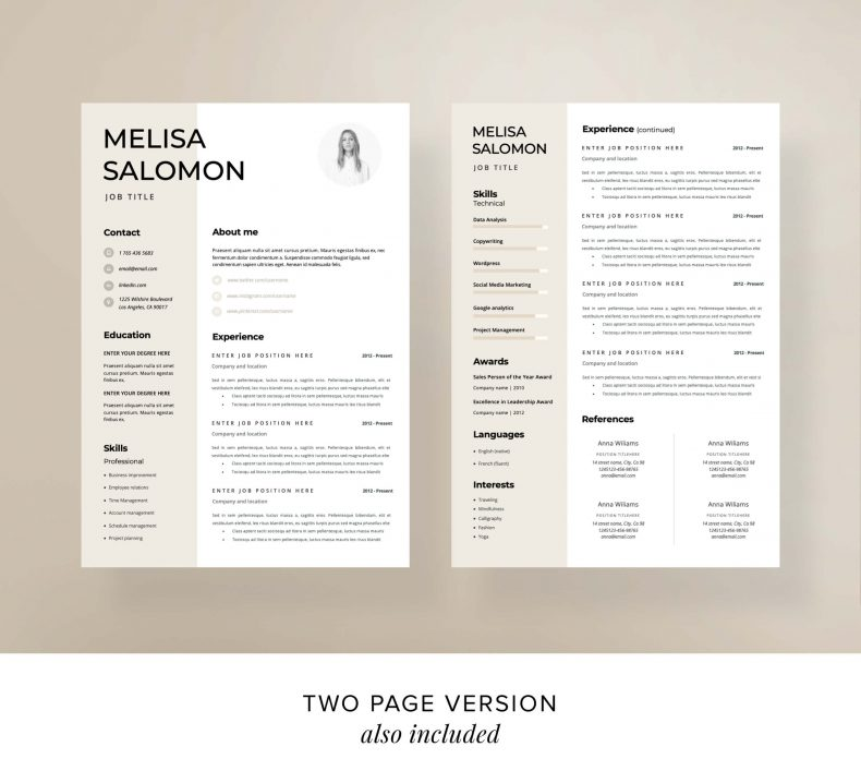 Template CV Rome CV two page