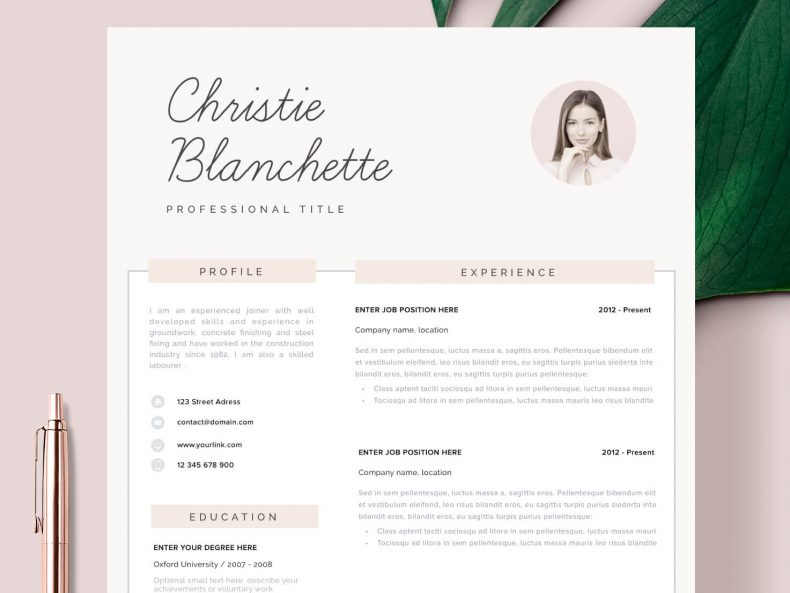 Template CV with a photo Santa Monica ready to download in MS Word