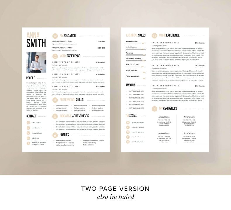Modern resume template Chicago two pages