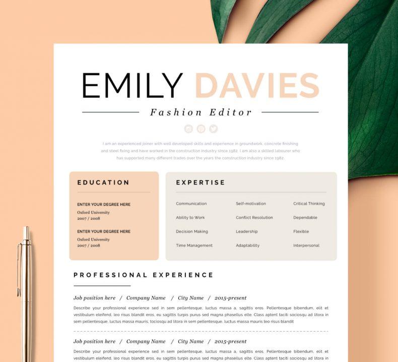 Kreatywny wzór CV Davies