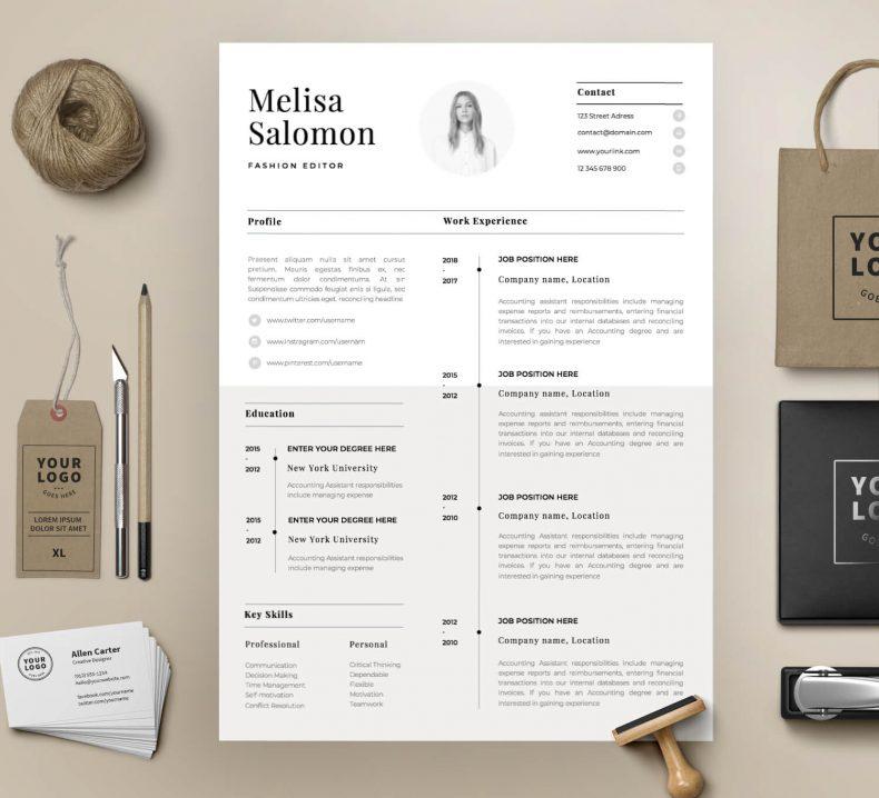 Simple resume template Paris 2