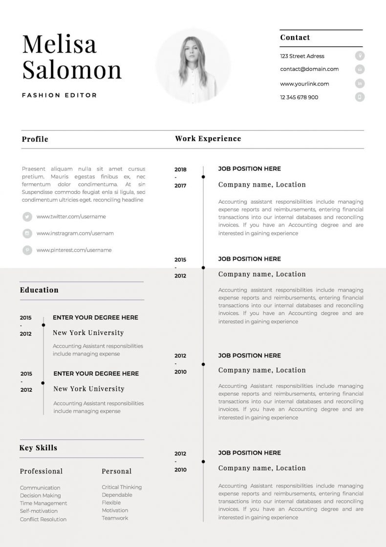 Simple resume template Paris 3