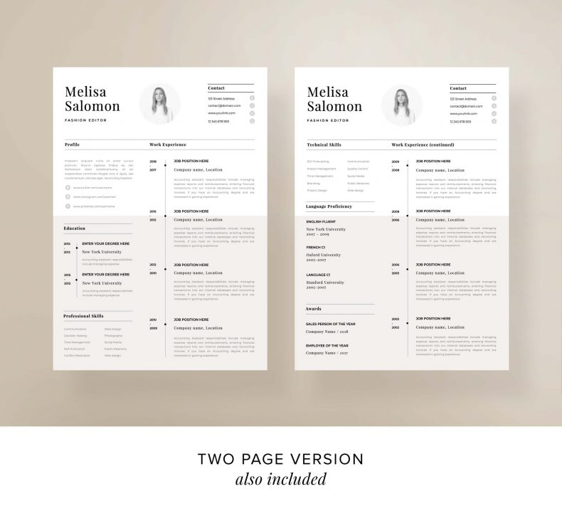 Simple resume template Paris two pages