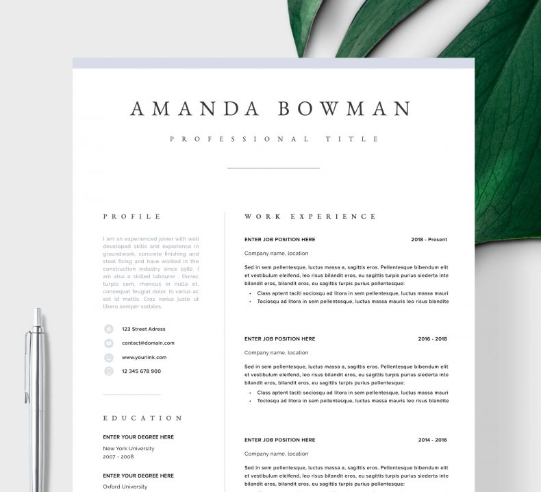 CV template professional Quebec