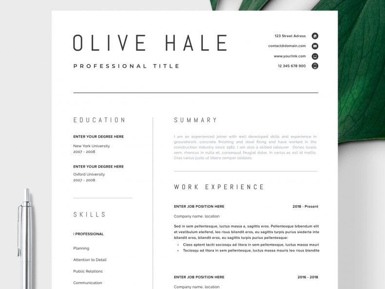Minimal resume template San Diego