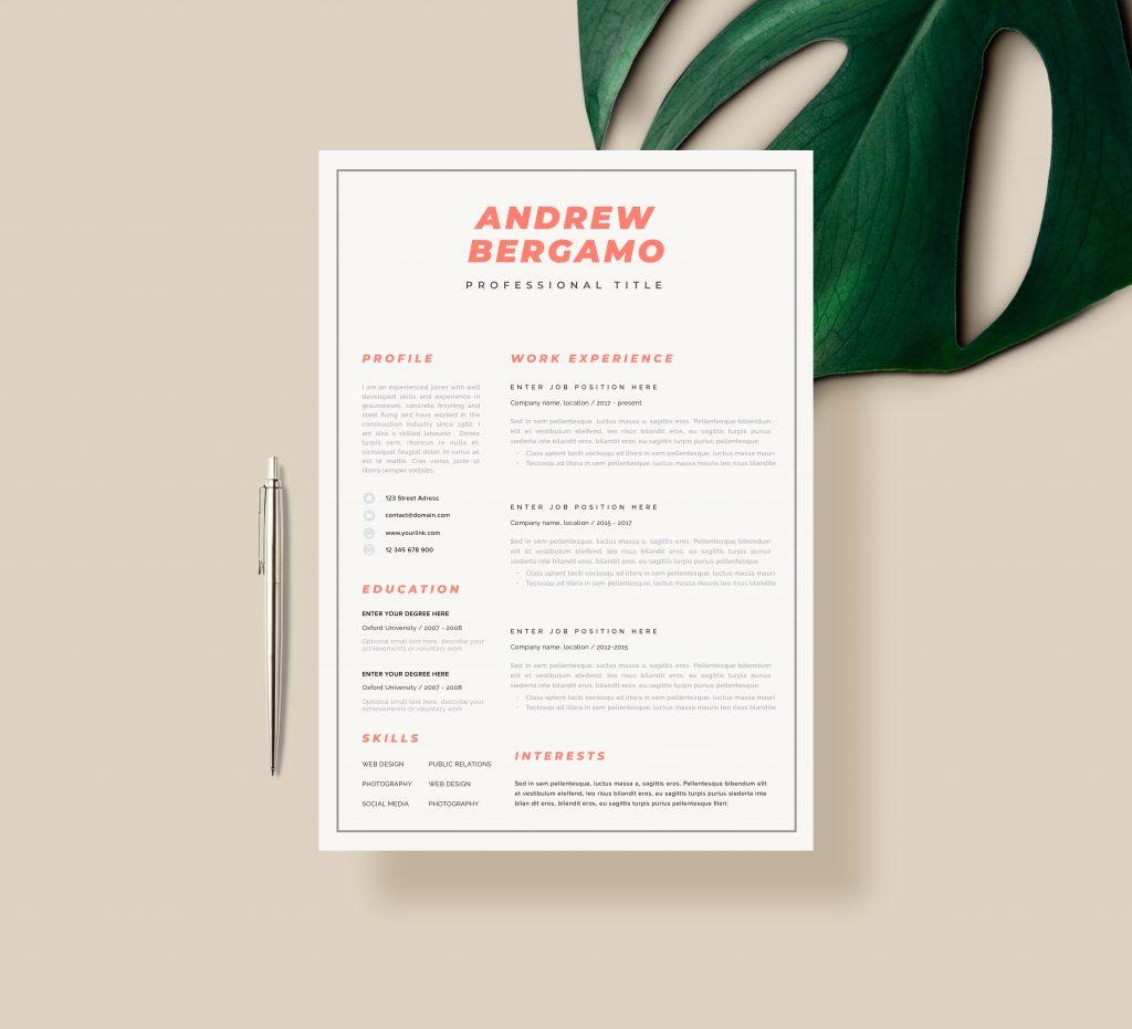 Simple resume template for Art Teachers